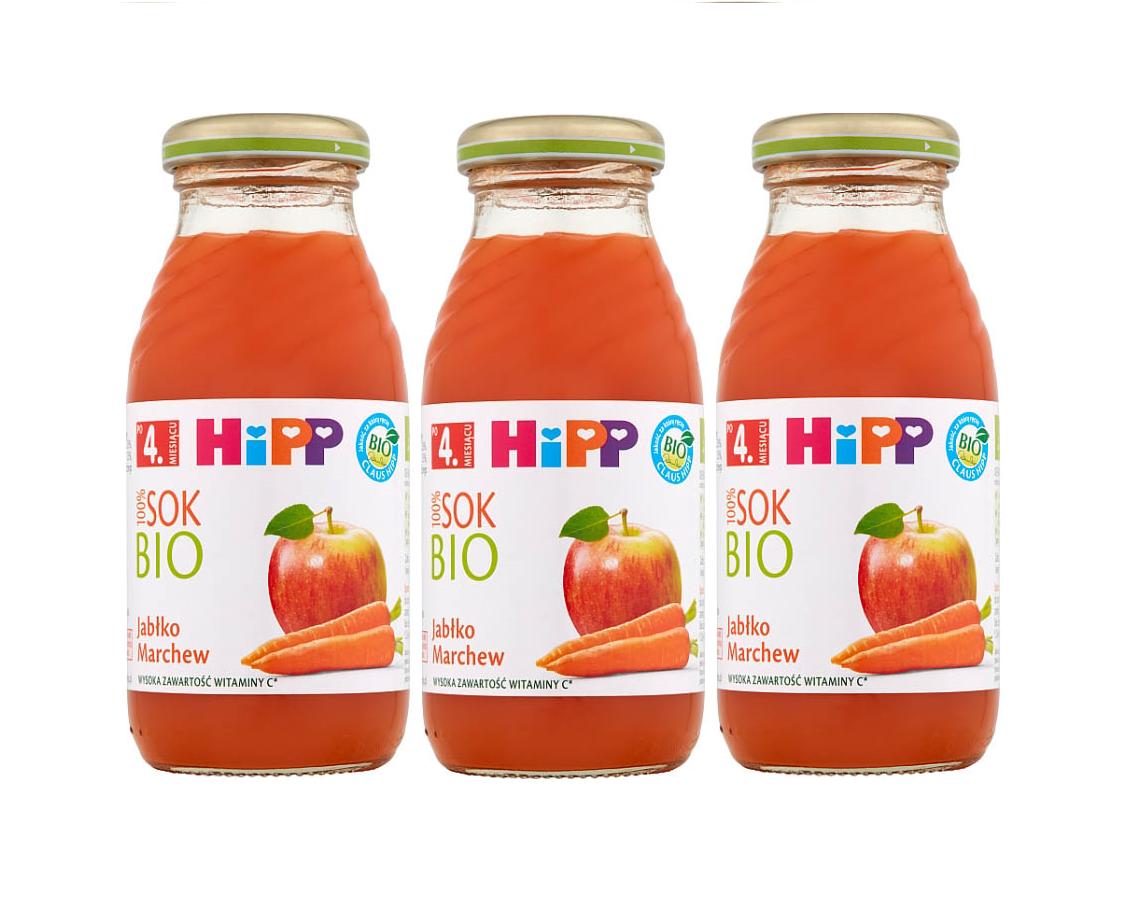 3 pack hipp 200ml sok jablko marchew