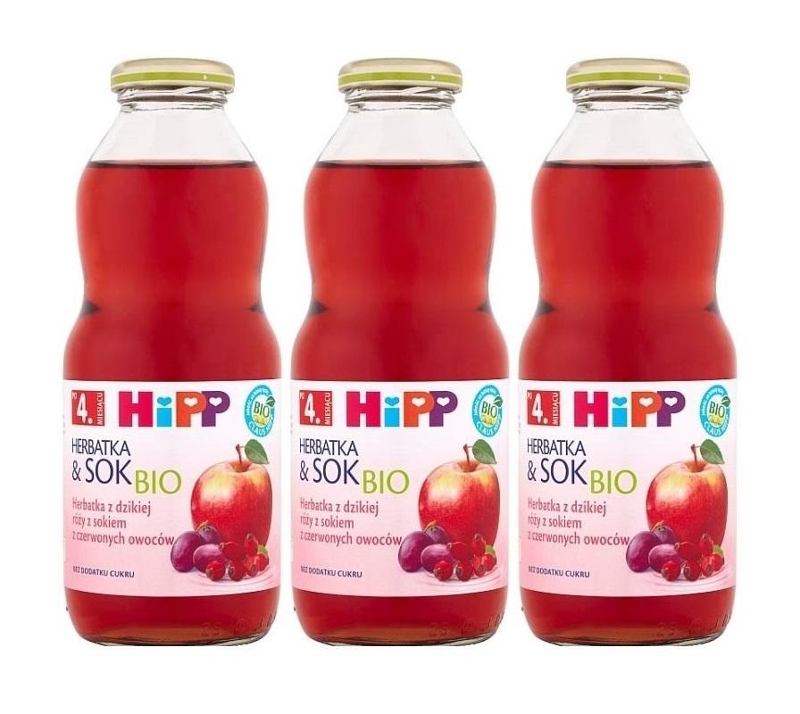 3 pack hipp 500ml herbata&sok dzika roza z sokiem z czerownych owoców