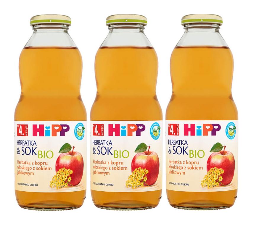 3 pack hipp 500ml herbata&sok koper włoski z sokiem jablkowym