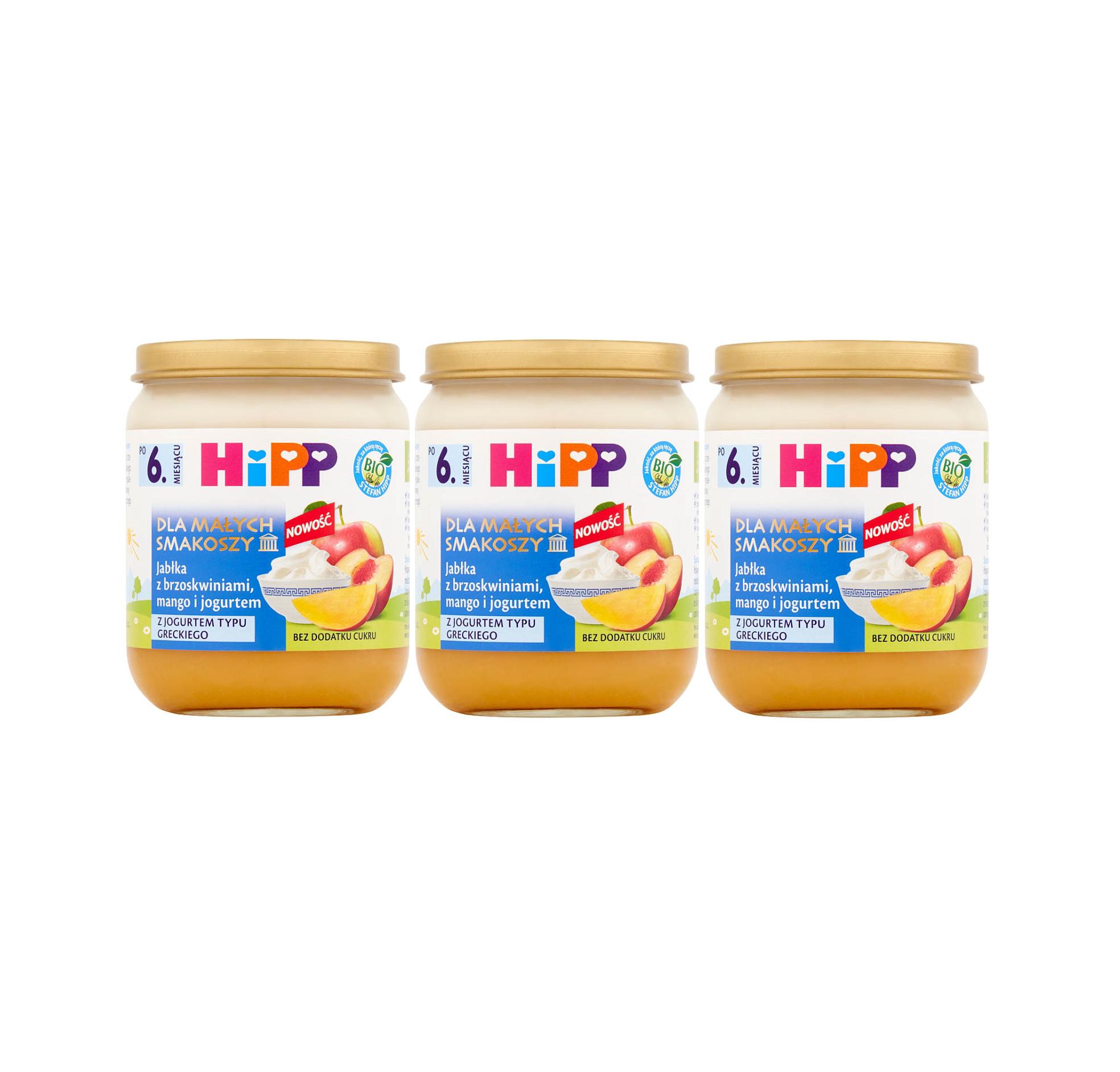 3 pak hipp 160 dla malych smakoszy jablka z brzoskwiniami mango i jogurtem