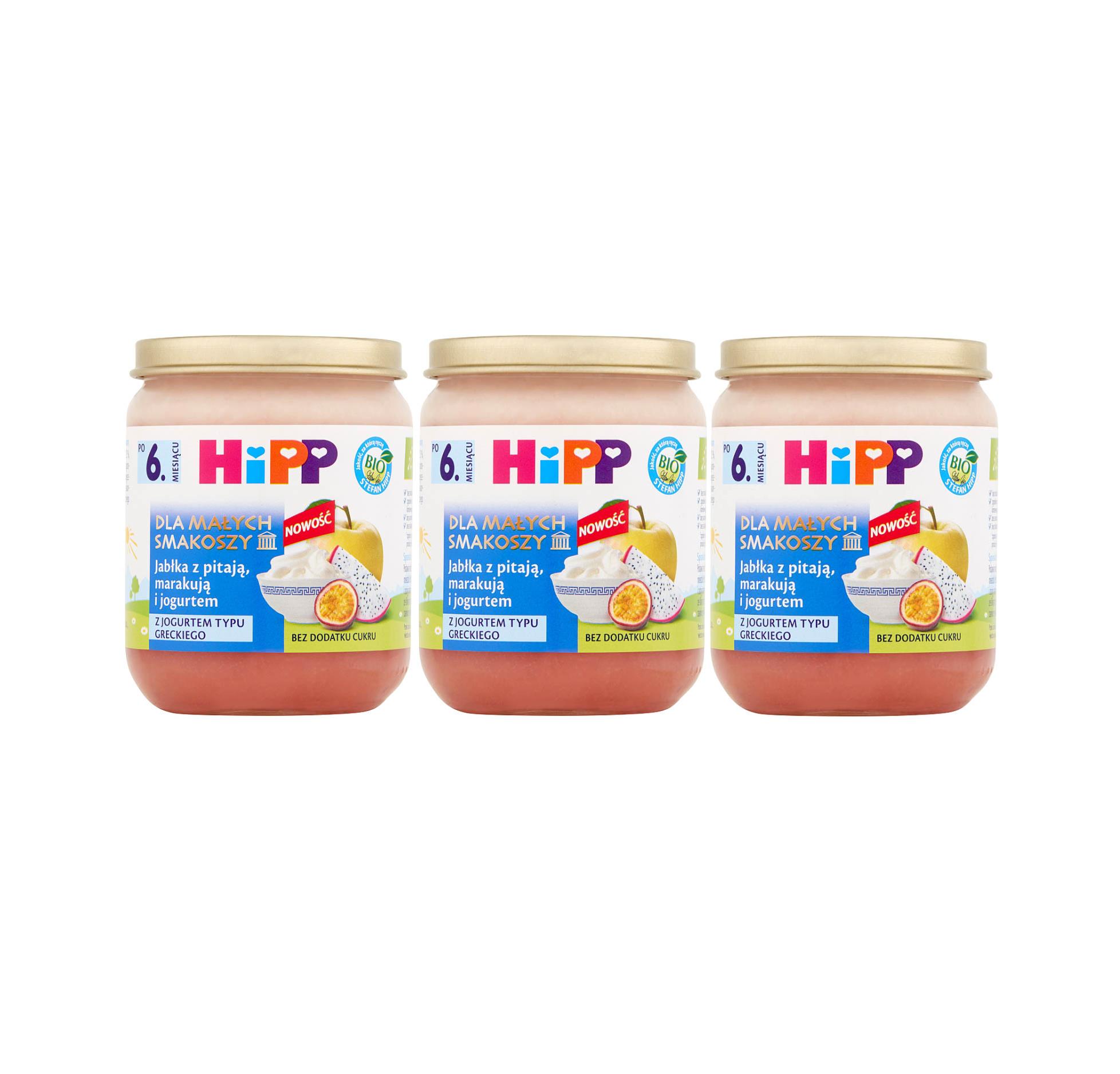 3 pak hipp 160 dla malych smakoszy jablka z pitaja marakuja i jogurtem