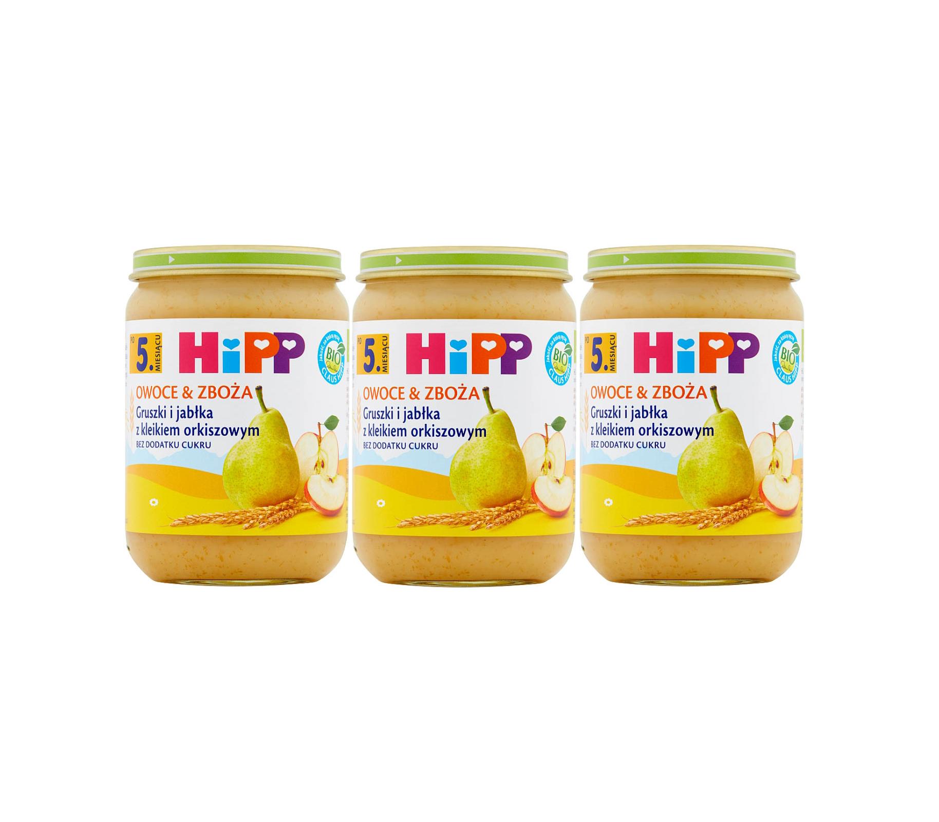 3 pak hipp 190 owoce&zboza gruszki i jablka z kliekime orkiszowym