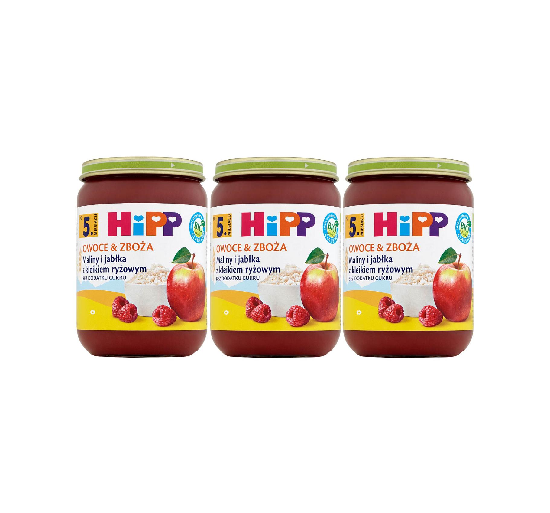 3 pak hipp 190 owoce&zboza maliny i jablka z kliekiem ryzowym