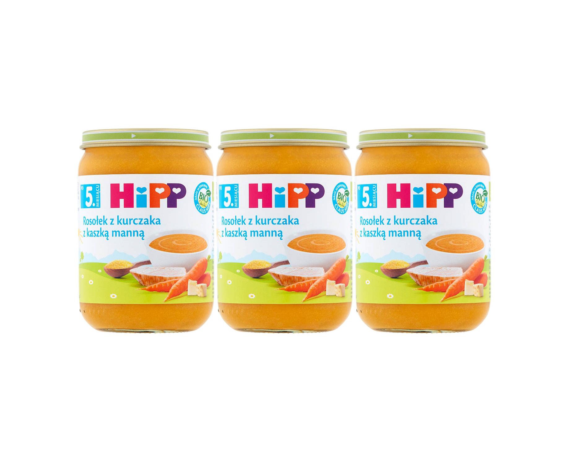 3 pak hipp 190 rosolek z kurczakiem i kaszka manna