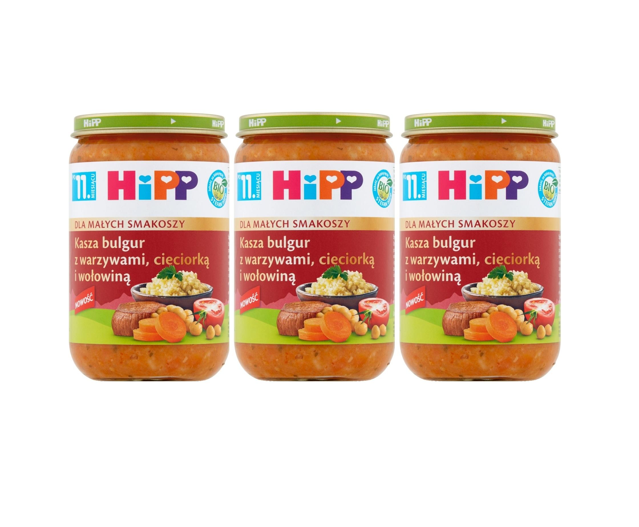 3 pak hipp kasza bulgur z warzywami cieciorką i wołowiną 220g