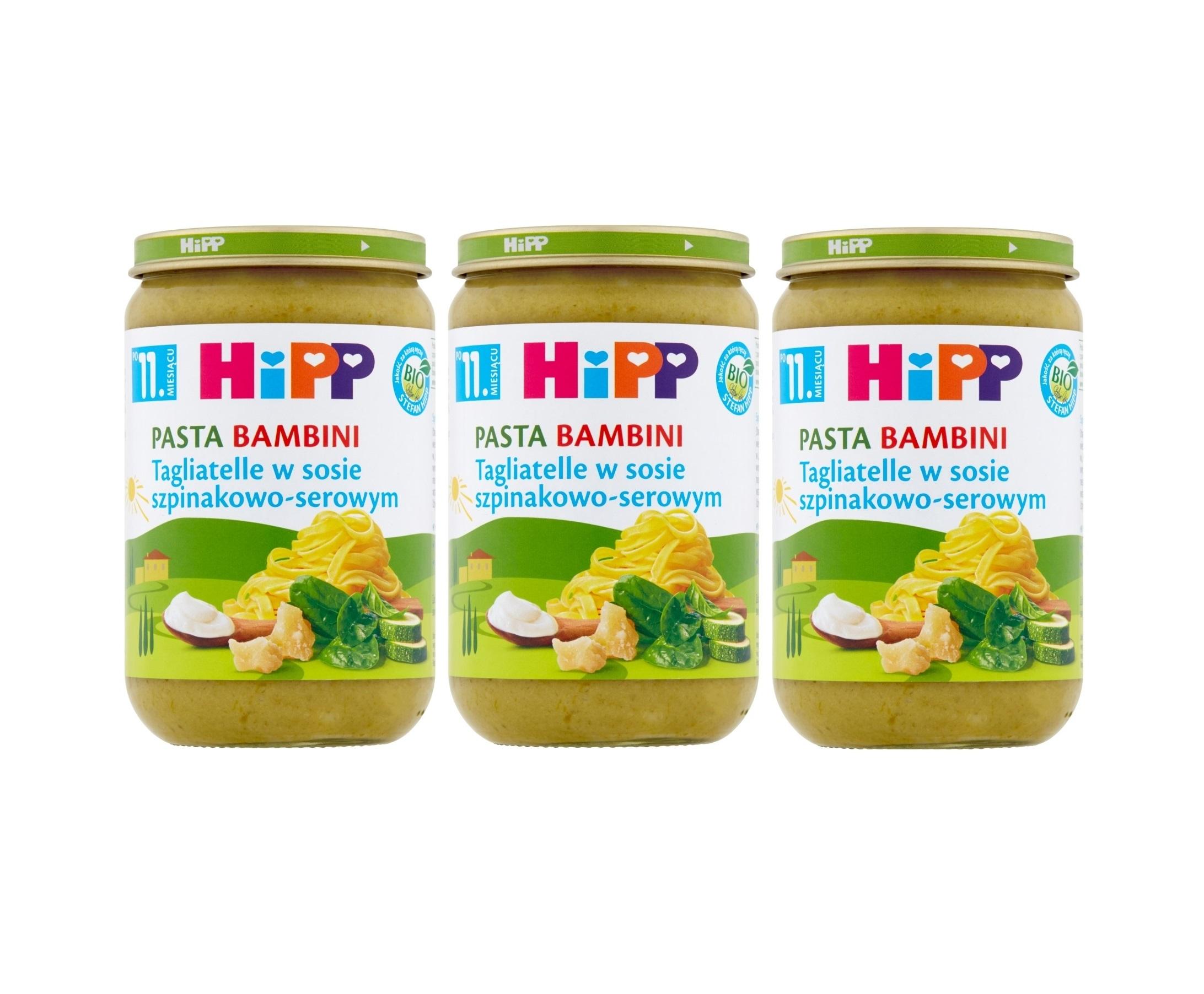 3 pak hipp tagliatelle w sosie szpinakowo-serowym 220g