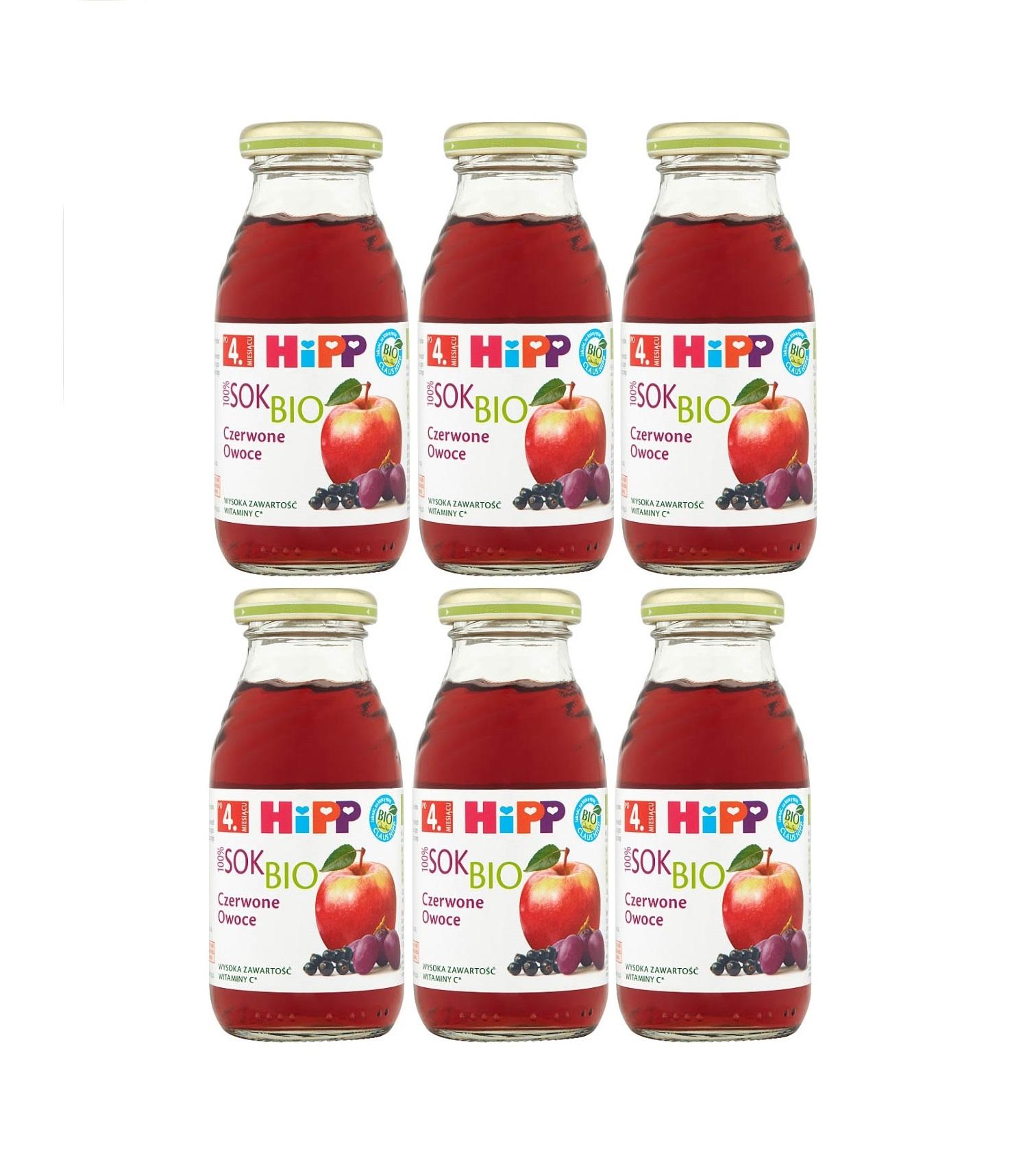 6 pack hipp 200ml sok czerwone owoce