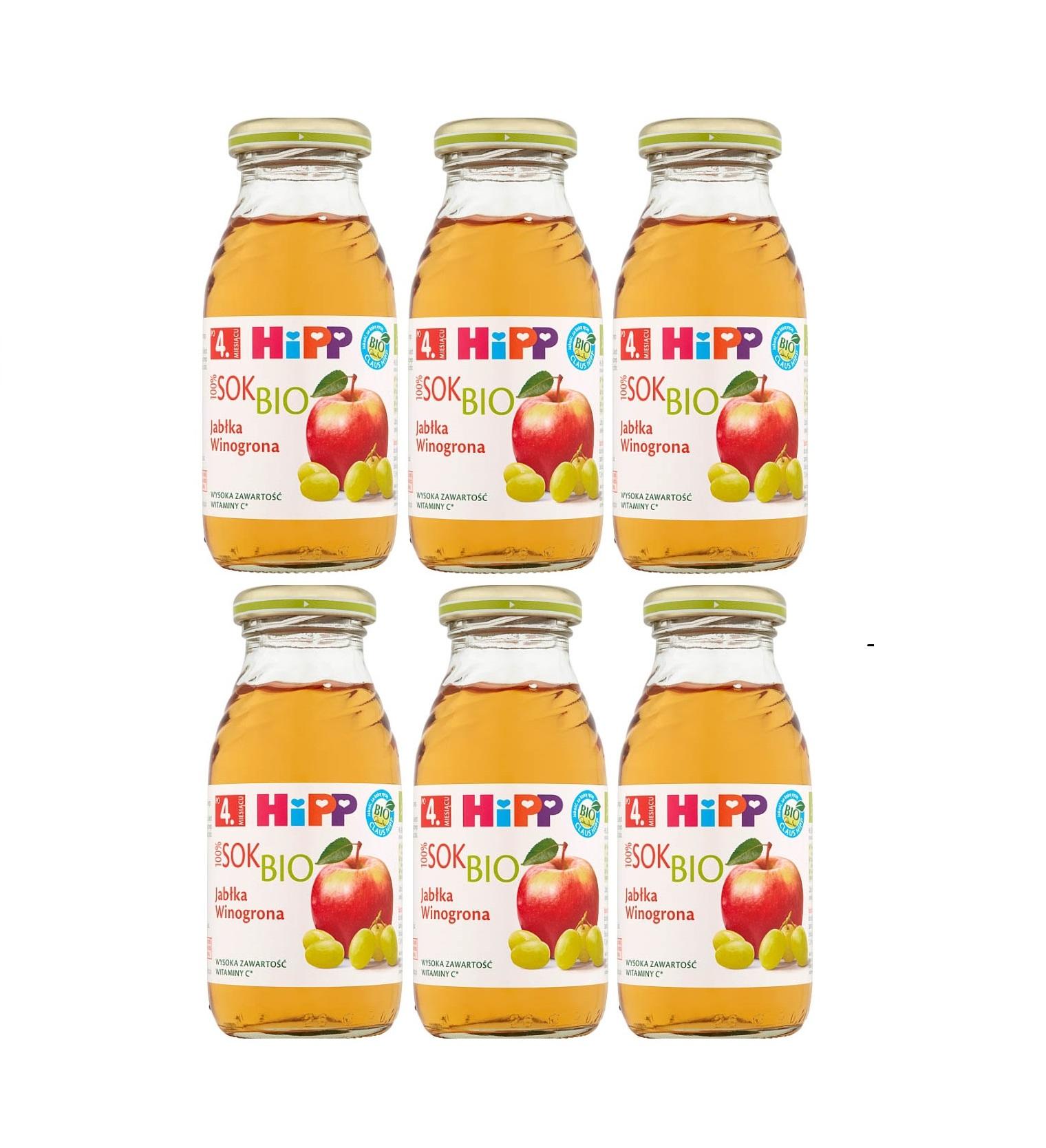 6 pack hipp 200ml sok jablko winogrona