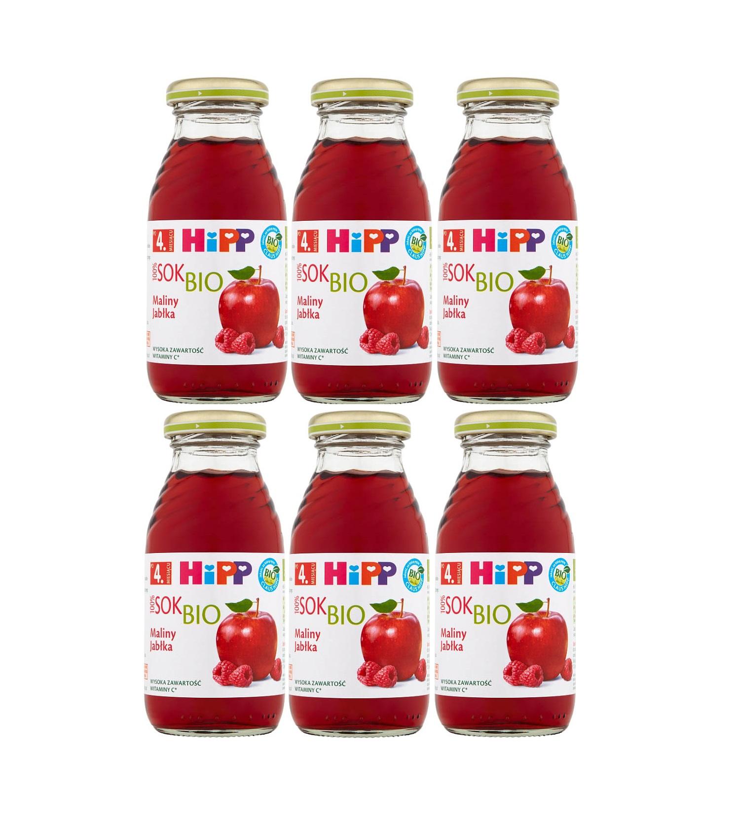 6 pack hipp 200ml sok malina jablka