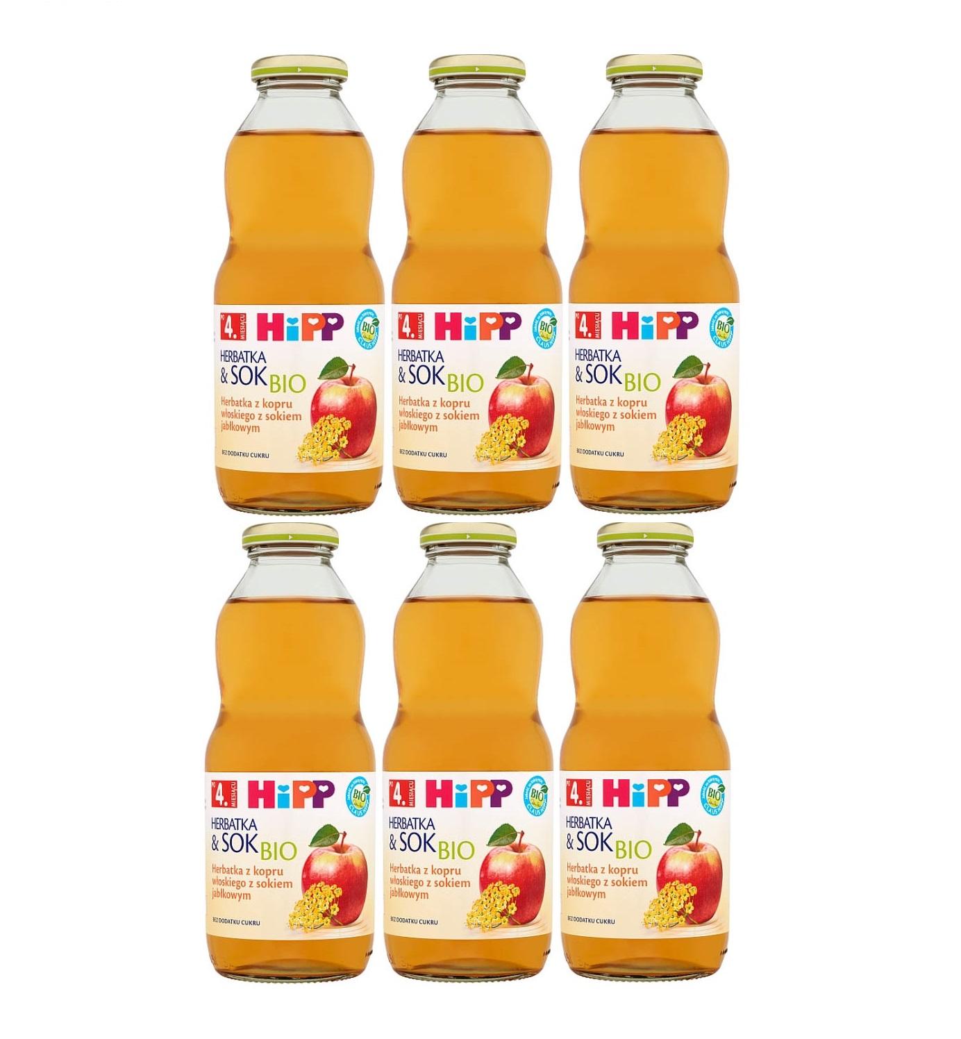 6 pack hipp 500ml herbata&sok koper włoski z sokiem jablkowym