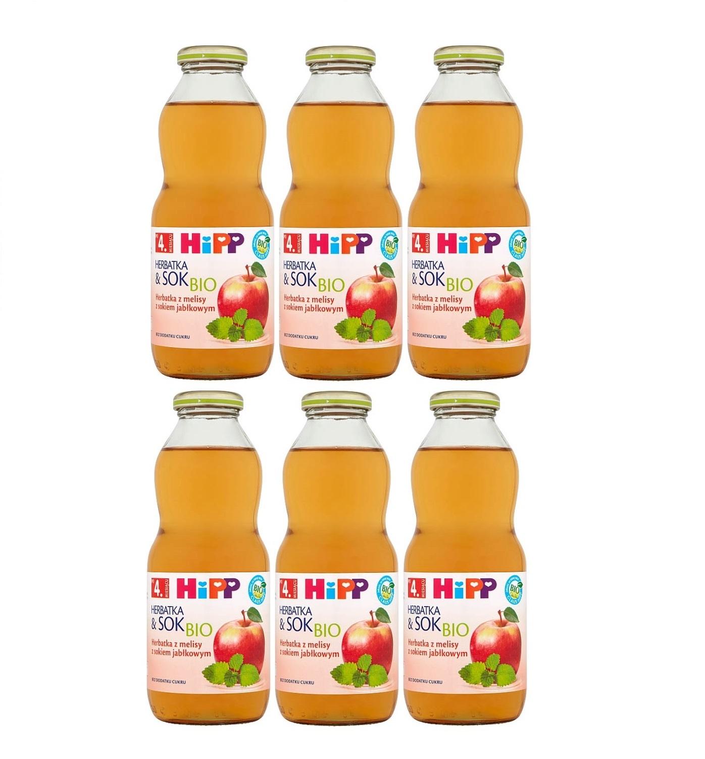 6 pack hipp 500ml herbata&sok melisa z sokiem jablkowym