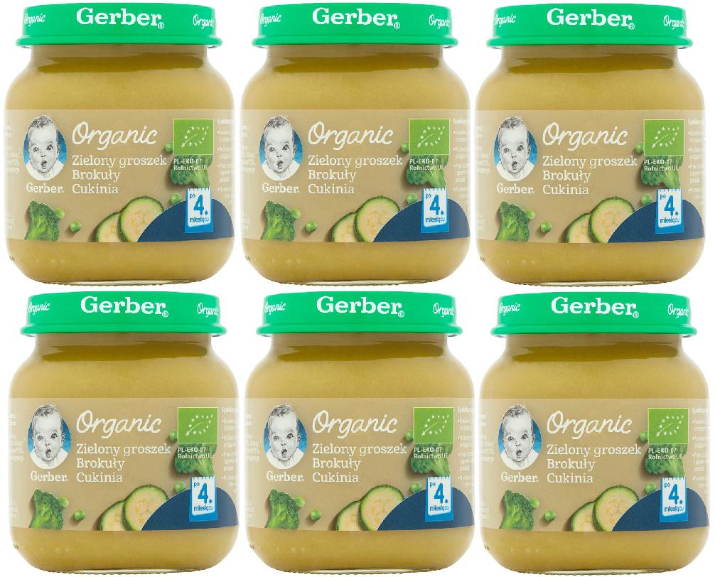 6 pak gerber 125 organic zilony groszek brokuly i cukinia