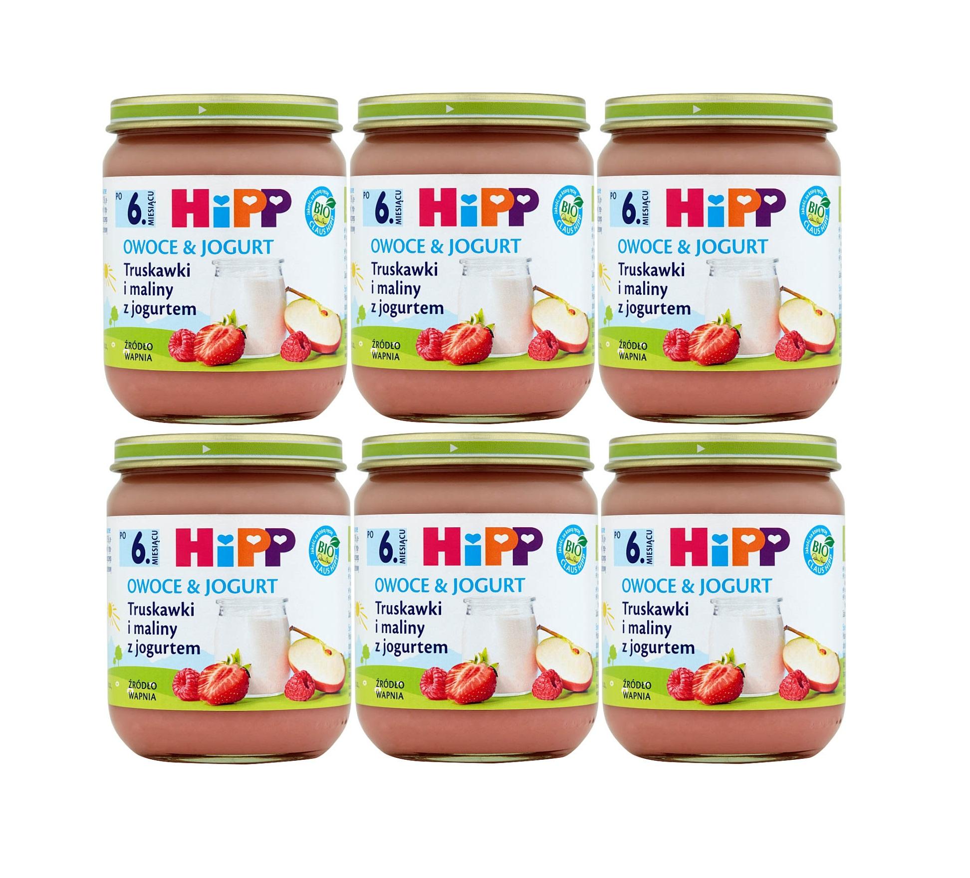 6 pak hipp 160 owocowy jogurt truskawk i maliny z jogurtem