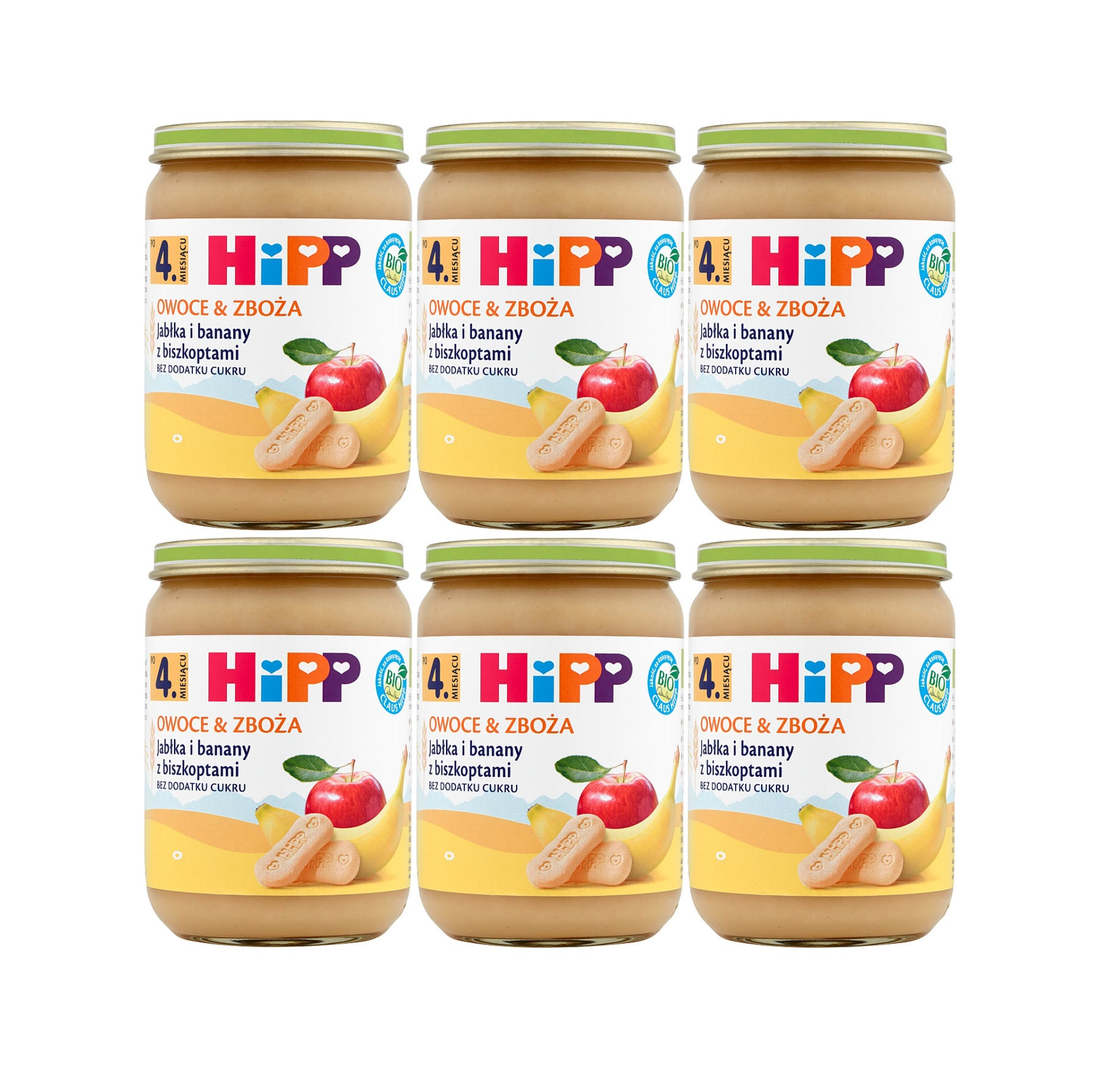 6 pak hipp 190 owoce&zboza jablka z bananami i biszkoptami