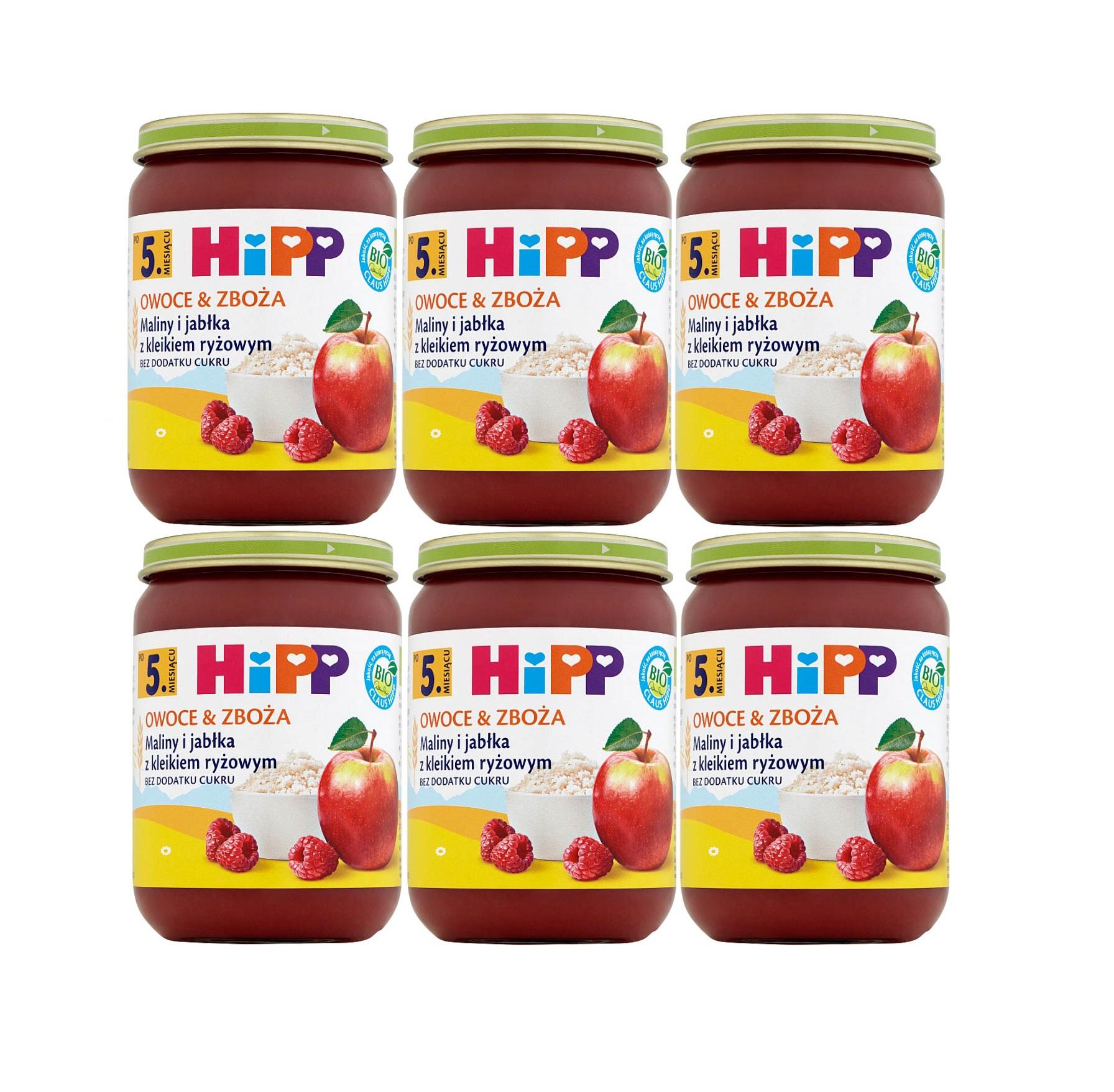 6 pak hipp 190 owoce&zboza maliny i jablka z kliekiem ryzowym