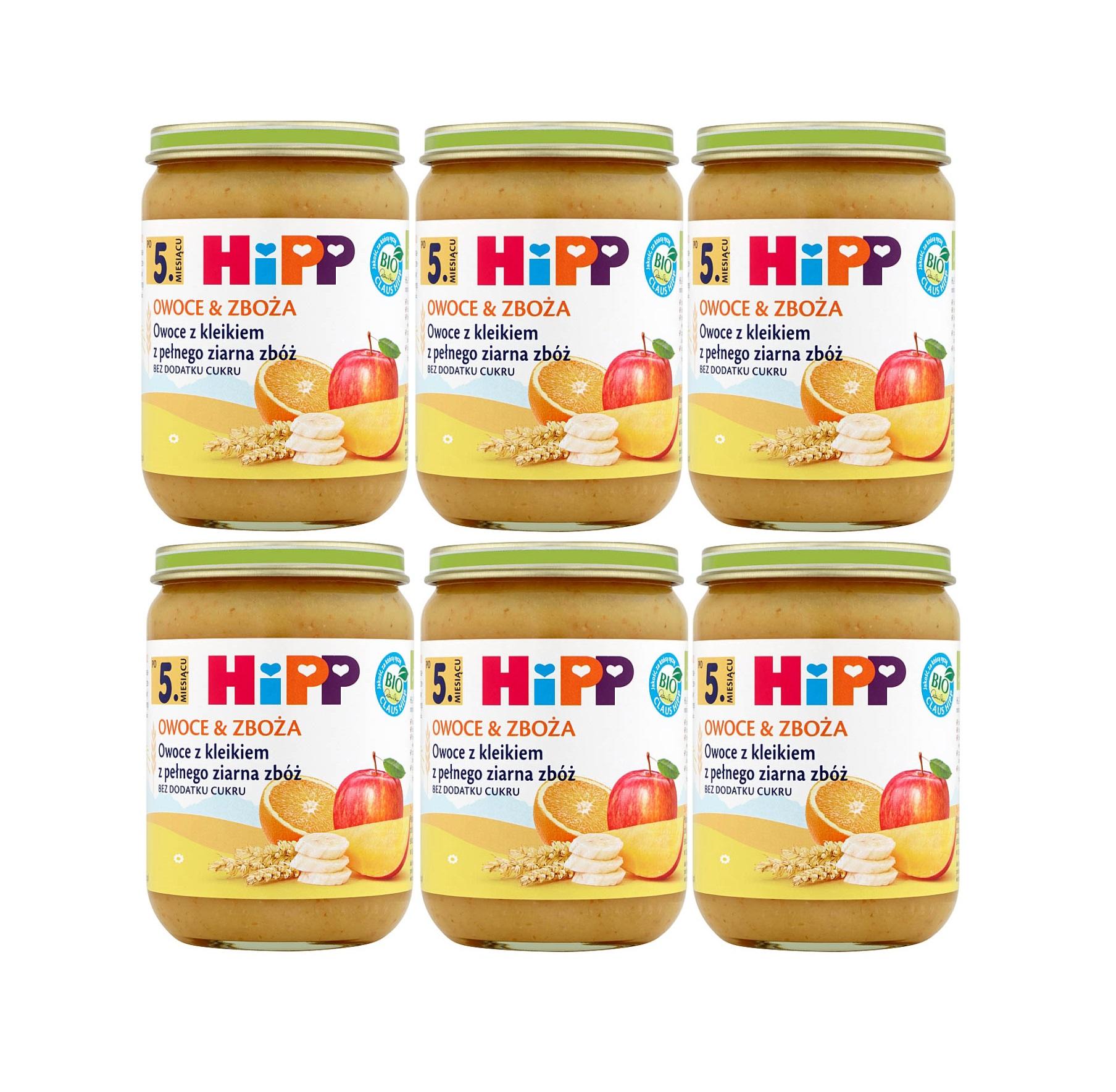 6 pak hipp 190 owoce&zboza owoce z kliekim z pelnego ziarna zboz