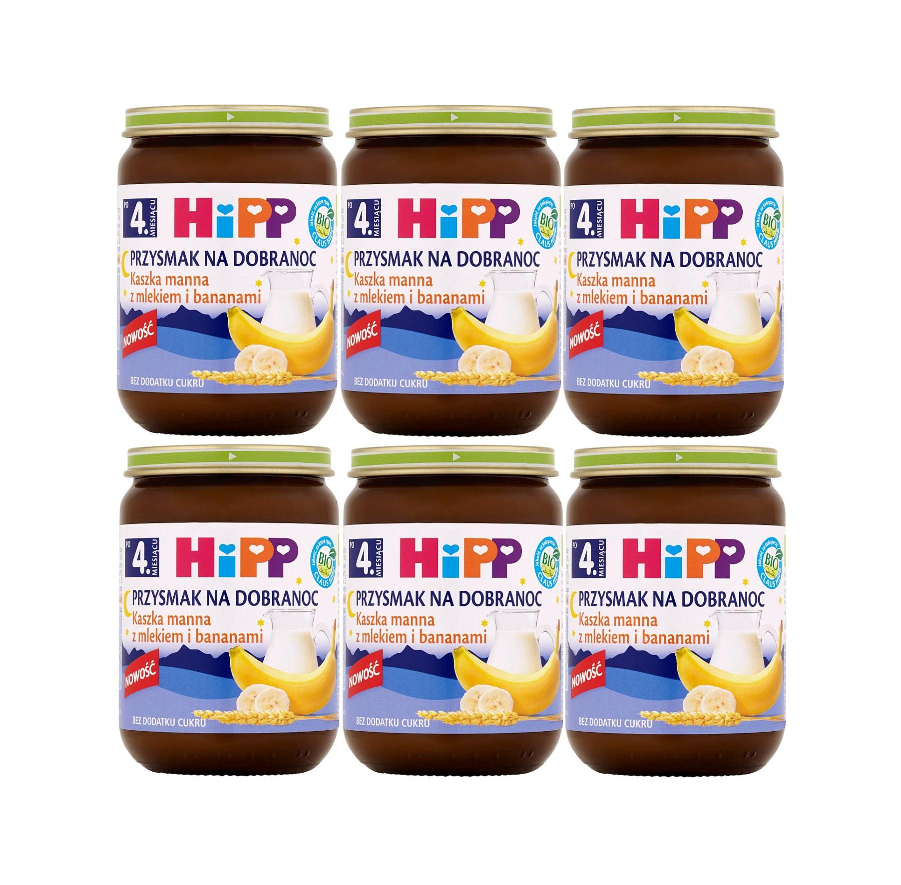 6 pak hipp 190 przysmak na dobranoc kaszka manna z mlekiem bananami