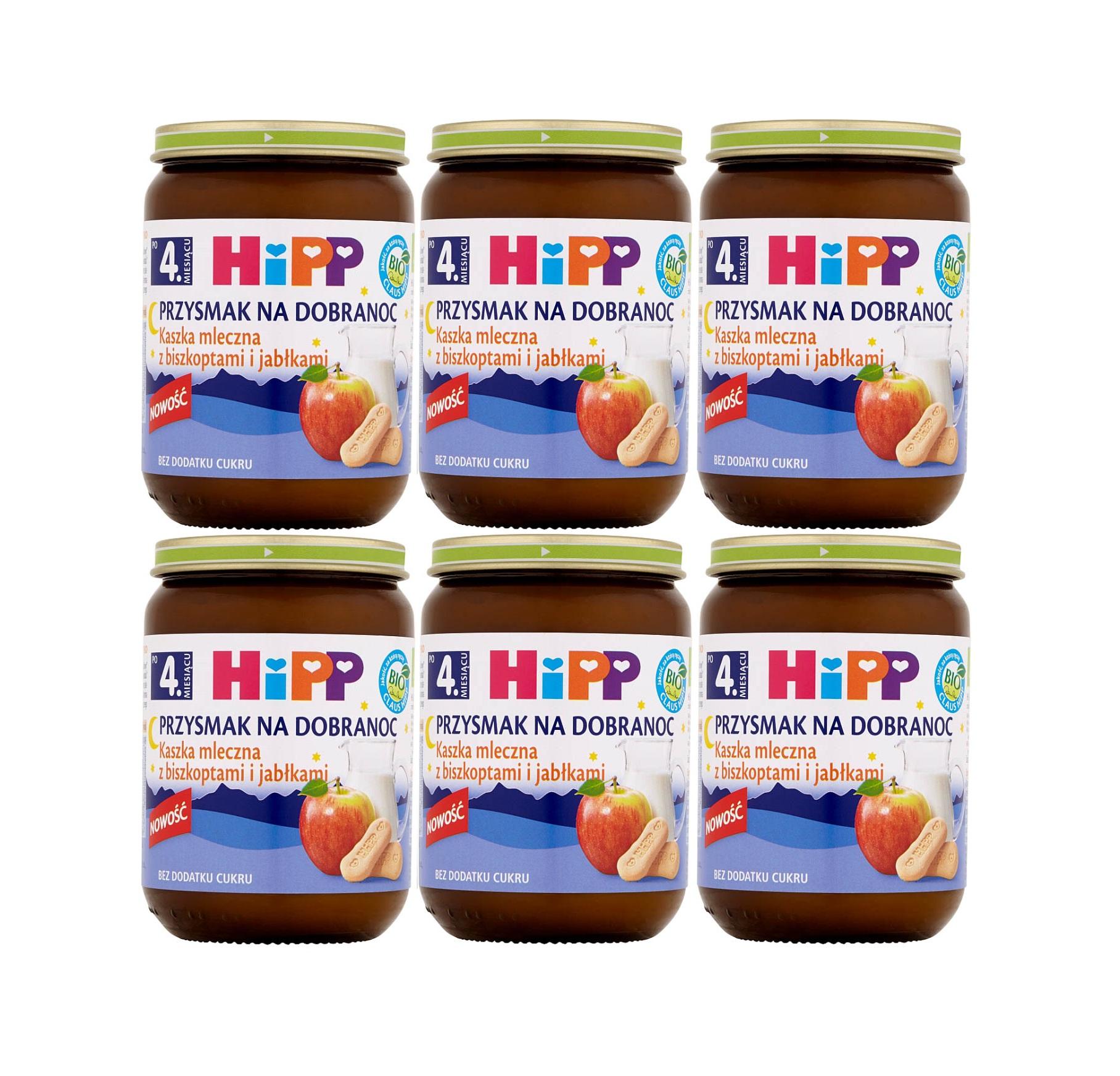 6 pak hipp 190 przysmak na dobranoc kaszka mleczna z biszkoptami i jablkami