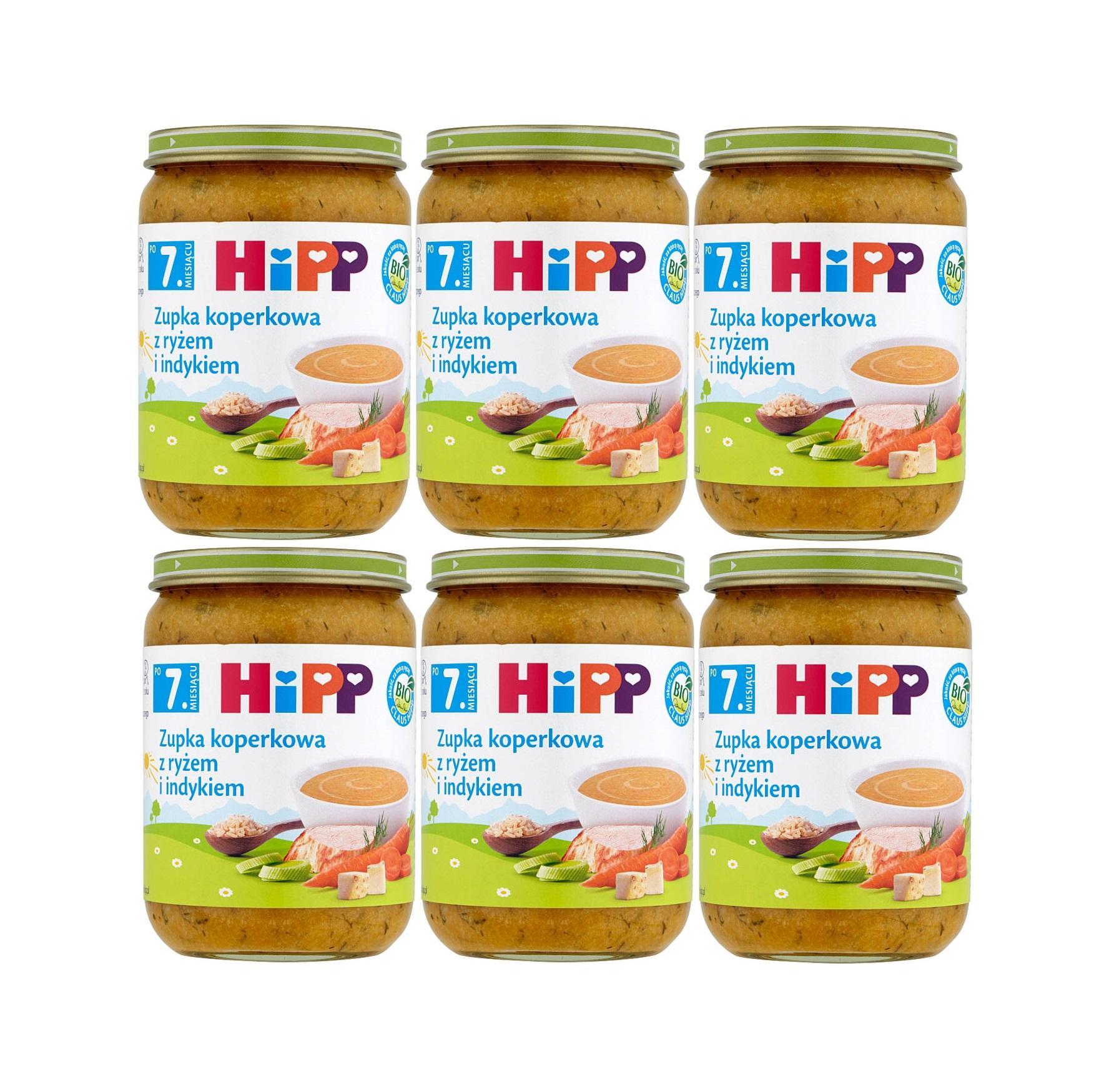 6 pak hipp 190 zupka koperkowa z ryzem i indykiem