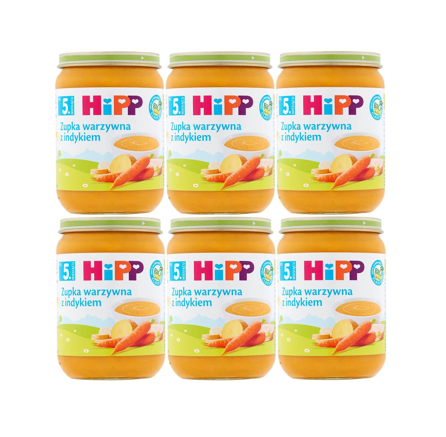 6 pak hipp 190 zupka warzywna z indykiem