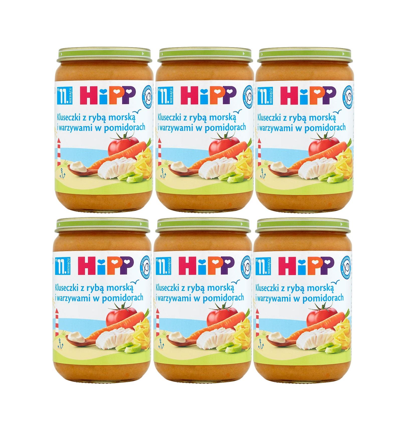 6 pak hipp 220 kluseczki z ryba morska i warzywami w pomidorach