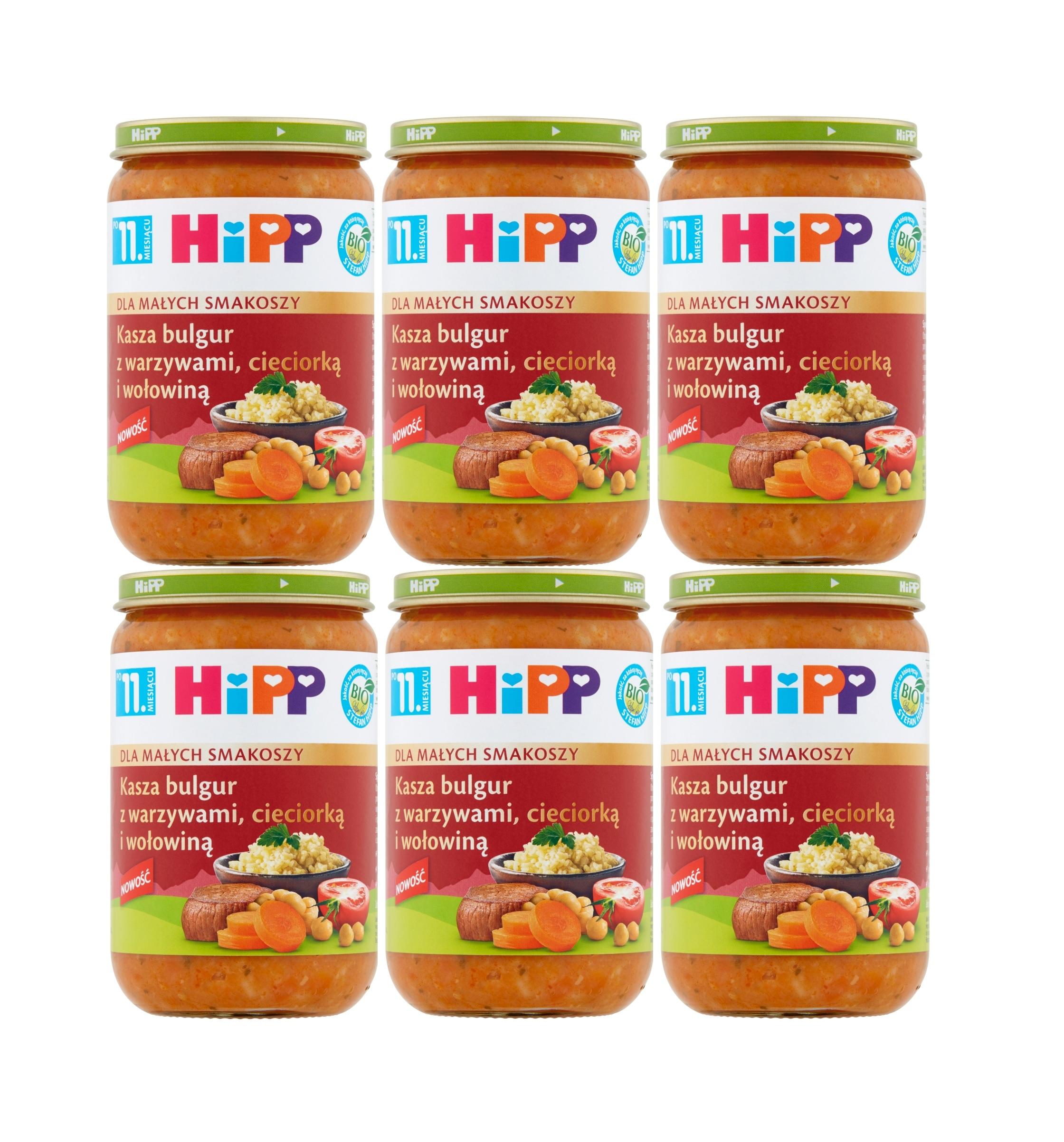 6 pak hipp kasza bulgur z warzywami cieciorką i wołowiną 220g