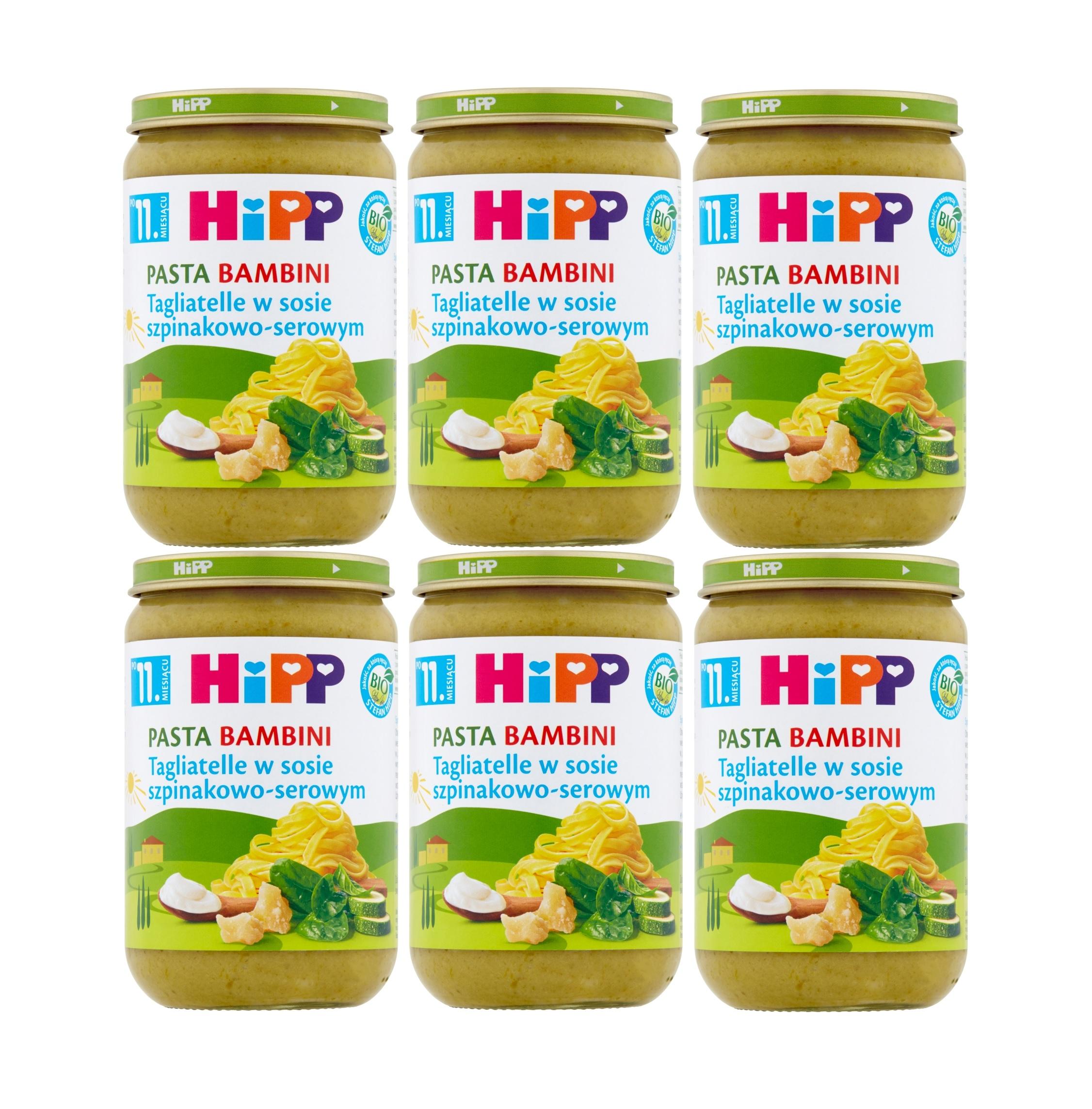 6 pak hipp tagliatelle w sosie szpinakowo-serowym 220g