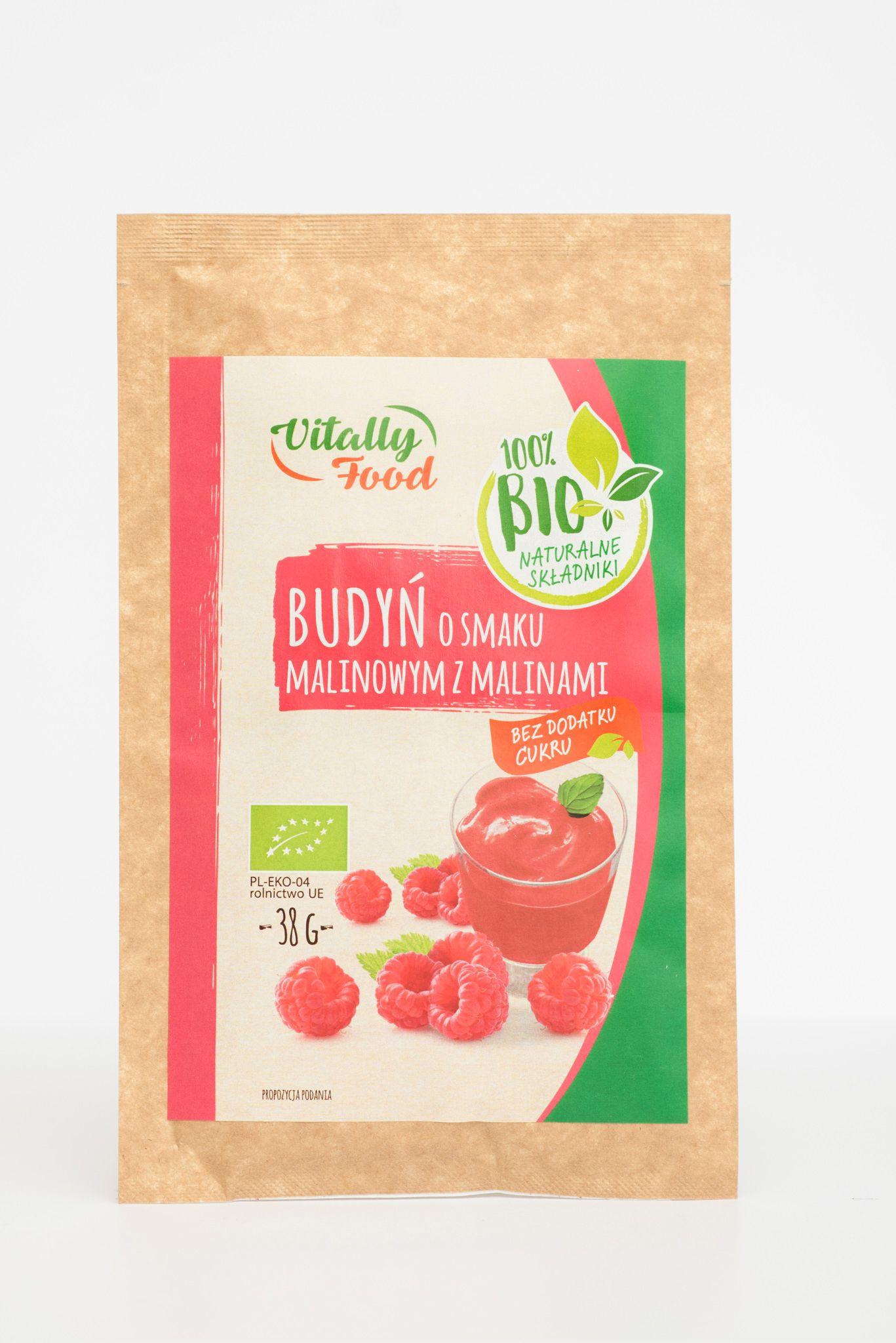 BIO Budyń smak malina z malinami 38g Vitally Food