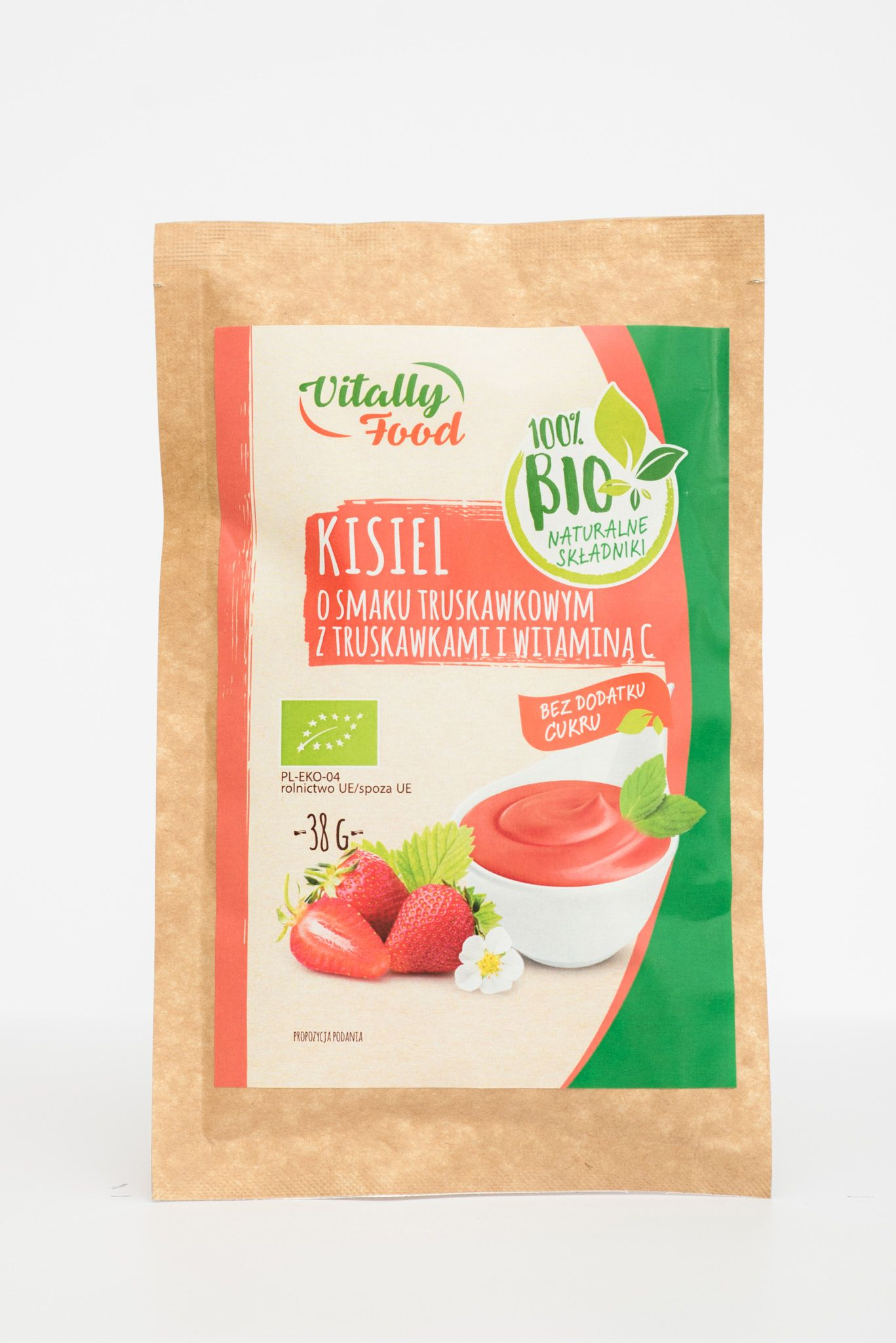 BIO Kisiel smak truskawka z truskawkami 38g Vitally Food