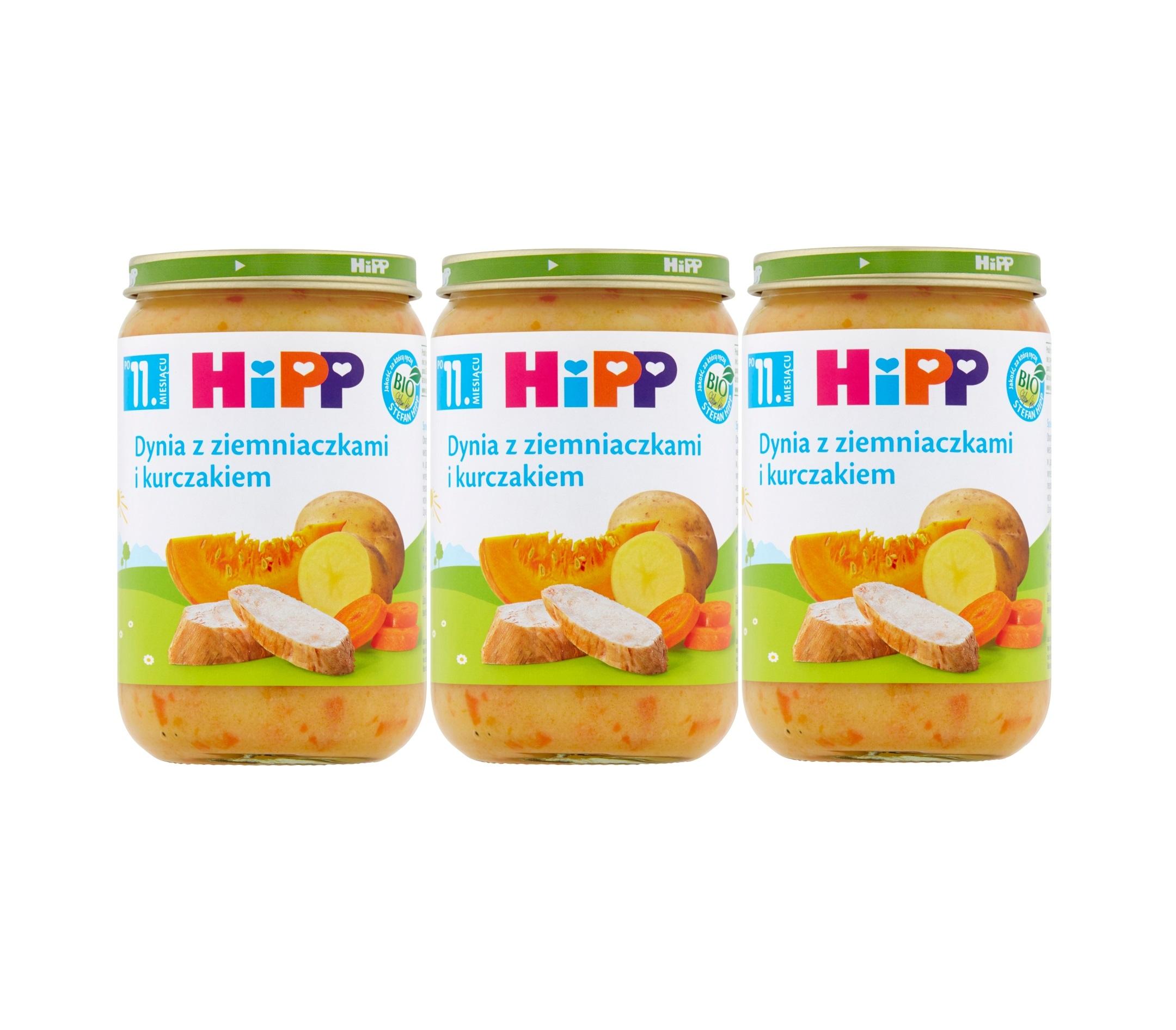 Hipp dynia z ziemniakami i kurczakiem 3x220g